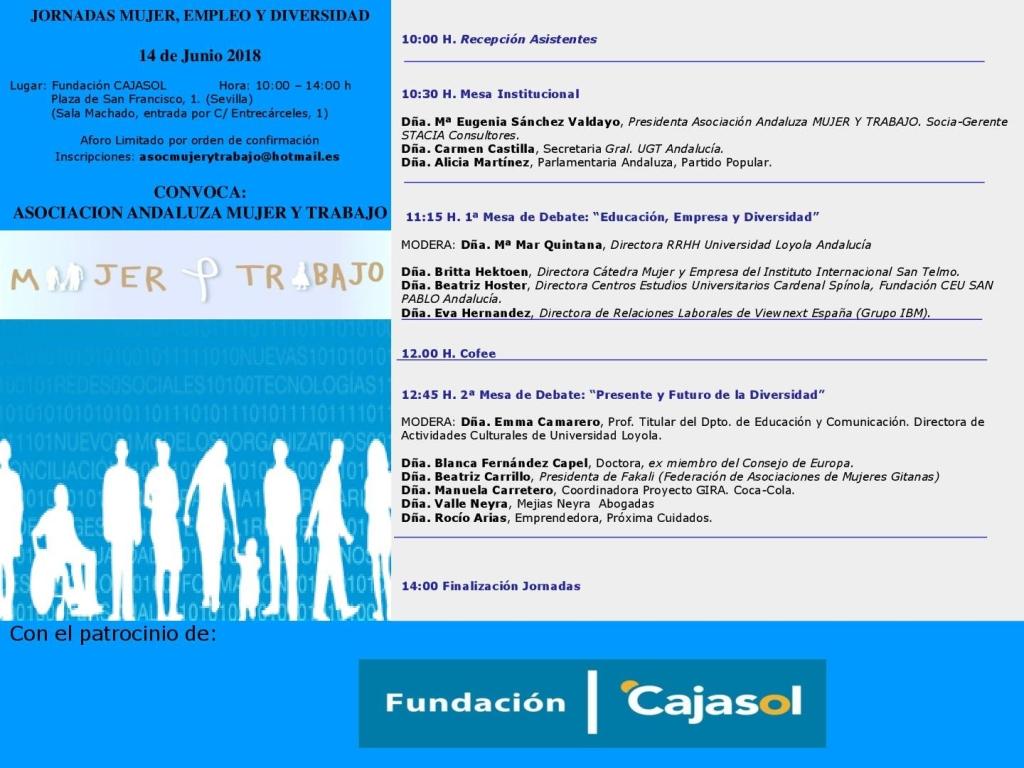 """LA ASOCIACIÓN ANDALUZA """"MUJER Y TRABAJO"""" CELEBRARÁ LAS JORNADAS """"MUJER, EMPLEO Y DIVERSIDAD"""" EL PRÓXIMO 14 DE JUNIO"""